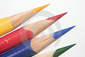 Blue Yellow Red Green Colored Pencils Stock Photo - Image: 10269610
