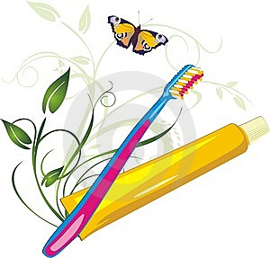 Sprig With Butterfly, Tooth Brush And Paste Royalty Free Stock Images - Image: 10269729