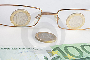Glasses Coins And Banknote Look Like Smile Stock Photography - Image: 10270432
