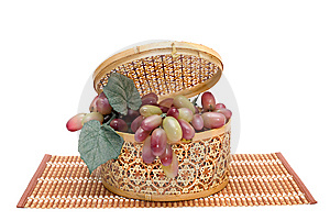 Bast Basket With A Grapes Stock Photography - Image: 10270572