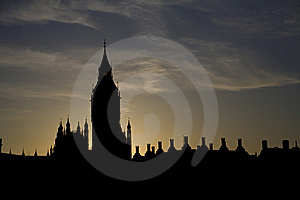 London - Silhouette Of Big Ben Stock Photos