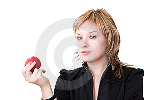 Girl With Red Apple Royalty Free Stock Photos - Image: 10280528