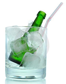 Cocktail:  Ice And Green Bottle Stock Photo - Image: 10283460