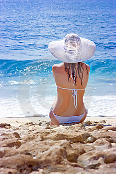 Brunette In White Hat Royalty Free Stock Photo - Image: 10288495