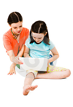 Girls Using A Laptop Royalty Free Stock Images - Image: 10294009