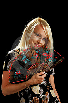 A Young Attractive Woman With Fan Stock Photo - Image: 10297900