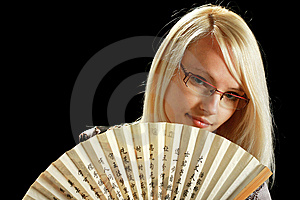A Young Attractive Woman With Fan Royalty Free Stock Photos - Image: 10297908