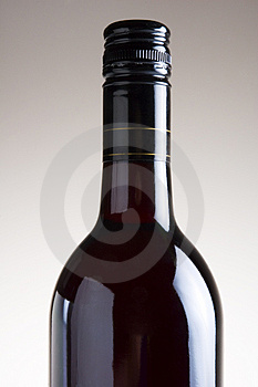 Isolated Red Wine bottle on plain background