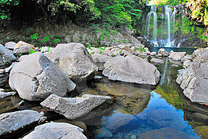 Low Shot Of Majestic Waterfall Royalty Free Stock Images - Image: 10300339