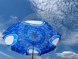 Beach Umbrella Blue Sky  Royalty Free Stock Images - Image: 10301089