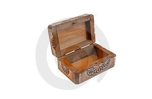 Open Empty Carved Wooden Casket Isolated Royalty Free Stock Photography - Image: 10301407
