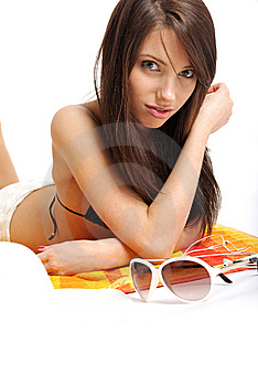 Beautiful Sexy Girl In Bikini Laying Royalty Free Stock Photography - Image: 10301447