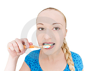 Girl Brushing Teeth Stock Photo - Image: 10302060