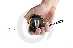A Hand Holding A Tape Measure Stock Photo - Image: 10303110