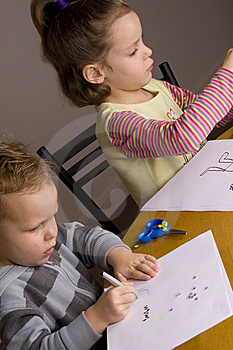 Boy And Girl Drawing Stock Photography - Image: 10314072