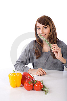 Woman Smell Herb Stock Photo - Image: 10314590