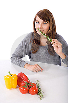 Woman Smell Herb Stock Images - Image: 10314614