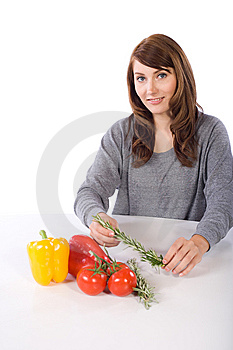 Woman Smell Herb Royalty Free Stock Photography - Image: 10314637