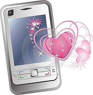 Mobile Telephone And Hearts Royalty Free Stock Photography - Image: 10315387