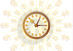 Clock And Money Stock Photography - Image: 10315722
