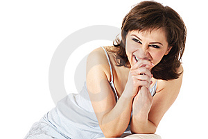 Laughing Young Woman With Curly Hair Stock Image - Image: 10315961