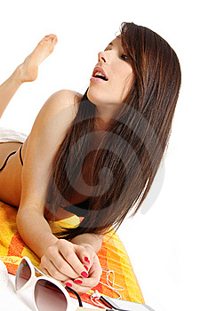 Beautiful Sexy Girl In Bikini Laying Stock Images - Image: 10316004