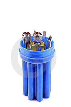 Screw Driver Blue Set Royalty Free Stock Images - Image: 10316679