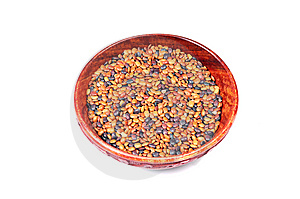 Lentils In Wooden Bowl Royalty Free Stock Images - Image: 10317659