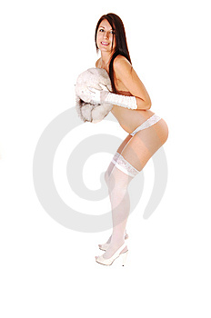 Woman In Lingerie And Fur Hat, Stock Images - Image: 10321274