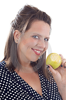 Young Smiling Woman Holding An Apple Stock Images - Image: 10322004