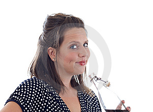 Young Woman Drinks Beverage; Isolated Stock Photography - Image: 10322032