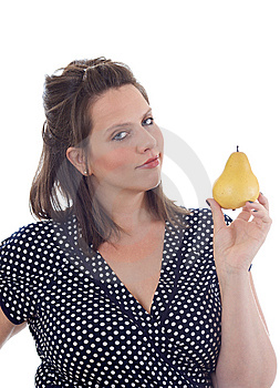 Young Woman Holds A Pear; Isolated Royalty Free Stock Photos - Image: 10322068