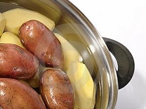 Fresh Raw Potatoes Into The Steel Pan. Royalty Free Stock Photos - Image: 10324658