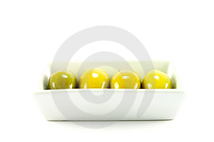 Four Green Olives In A Dish Royalty Free Stock Images - Image: 10324869