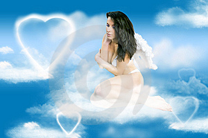 The Young Beautiful Angel On A Clouds Royalty Free Stock Photography - Image: 10330177