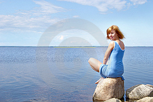 Woman On The Shore Stone Royalty Free Stock Images - Image: 10330619