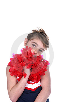 Girl With Freckled Face And Cheerleader Pompom Stock Images - Image: 10331894
