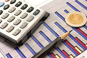 Money, Pencil And Calculator On Diagram Royalty Free Stock Photo - Image: 10332395