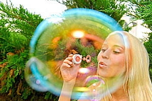 Girl Blow Bubbles Stock Image - Image: 10332821