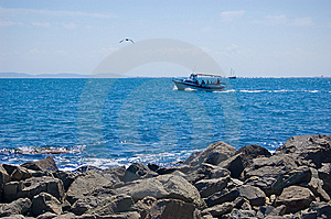 Sea Shore And A Ship Royalty Free Stock Photos - Image: 10338008