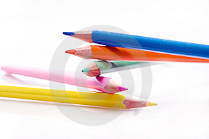 Brunch Of Colored Crayons On White Stock Photo - Image: 10341380