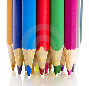 Brunch Of Colored Crayons On White Stock Images - Image: 10341384