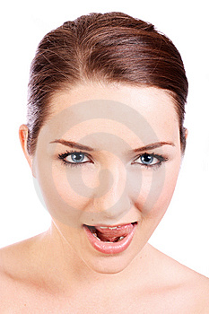 Beautiful Woman Licking Lips Stock Images - Image: 10344664