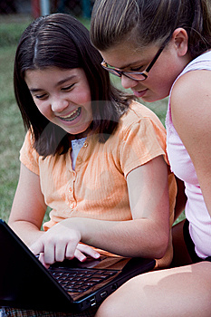 Young Girls On Laptop Royalty Free Stock Photo - Image: 10348265