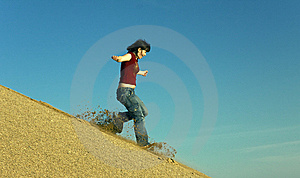 Woman Barefoot Running Down A Sand Dune Stock Images - Image: 10351224