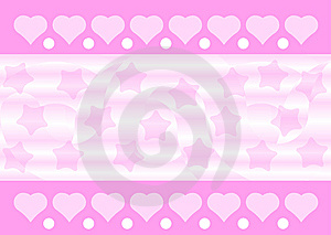 Pink Hearts And Stars Background Royalty Free Stock Photo - Image: 10354955