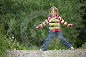 Girl Makes Gymnastic In Park Royalty Free Stock Photography - Image: 10354987