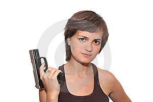 Girl With A Gun Stock Photos - Image: 10355423