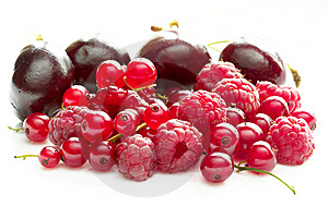 Raspberries, Currants And Cherries Stock Photos - Image: 10356643