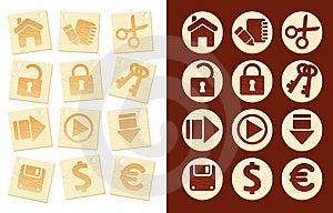 Icons On Wooden Background Royalty Free Stock Image - Image: 10357236